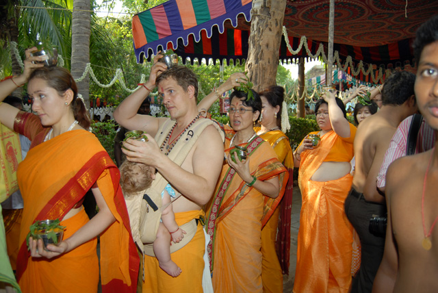 Overseas devotees in procession
