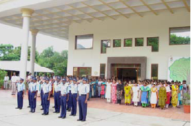 Staff & Security salute the Flag