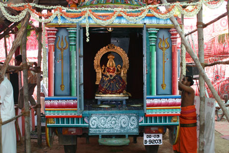 8 Goddess Mariamman in the mini temple in the Chariot