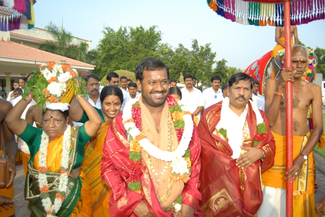 Beloved Amma leads the procession