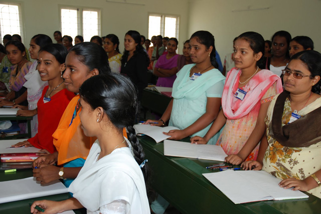 Young nursing students greet the overseas visitors