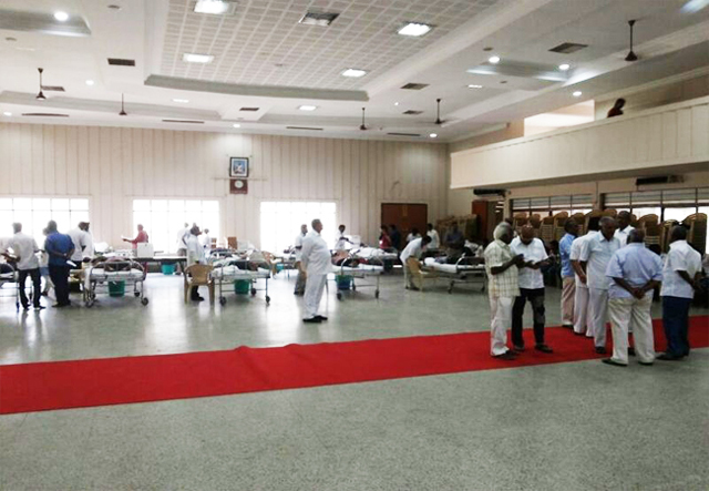 Large numbers of Donors turned out to donate blood