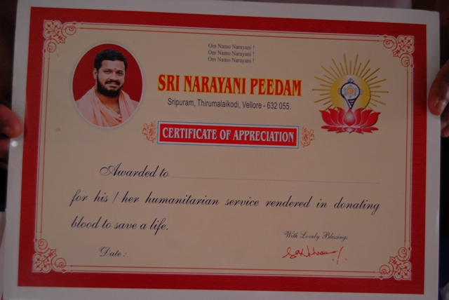 Certificate of Appreciation awarded to all volunteers who donated blood