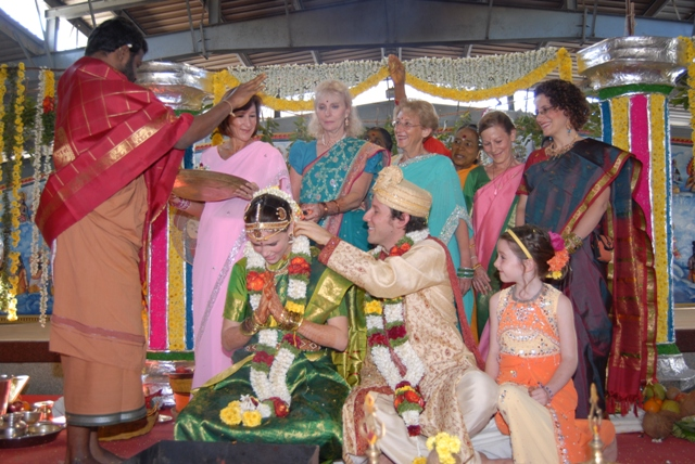 Beloved Amma blesses the newly married couple