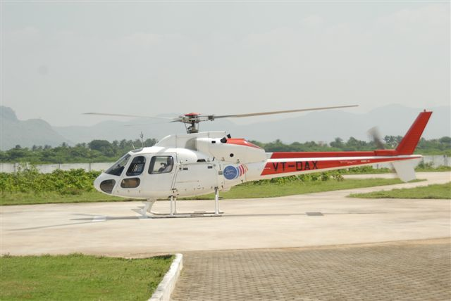 The helicopter lands at the Peedam Helipad