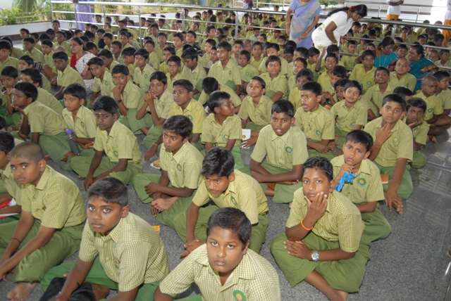 Students attend the homam