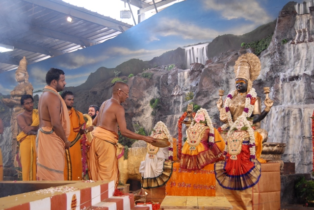 Priest perform the puja