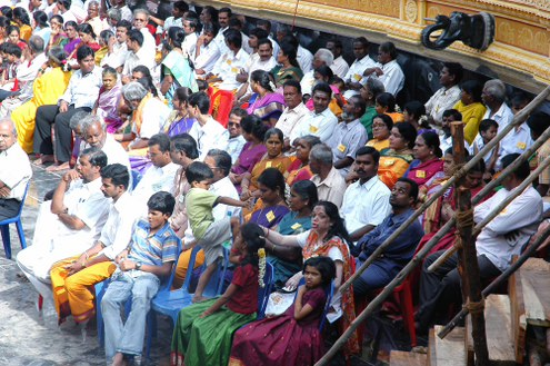 Crowds gathered to witness the consecration of the Sripuram Golden Temple