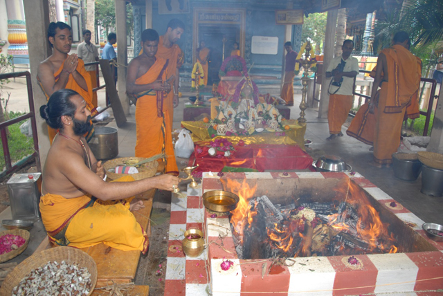 Homam conducted by the Temple Priests