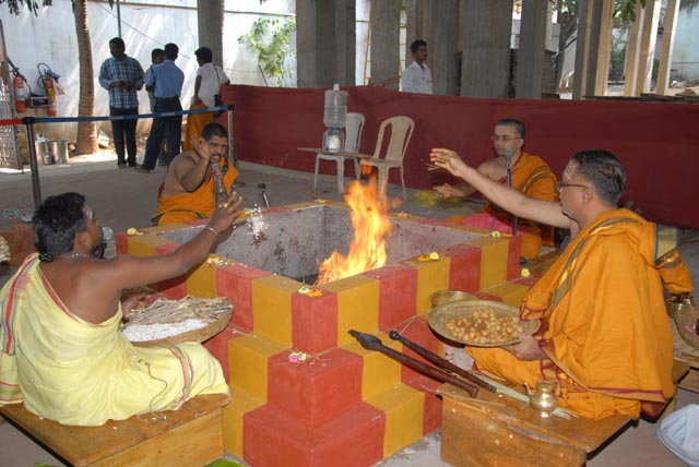 Priests chant the Vedic manthras at the Ganapathy Homam