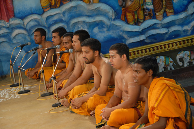 Priests chant the mantras