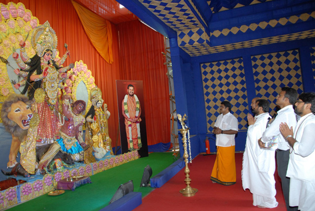 Guruji at the Goddess Durga statue at the Sripuram