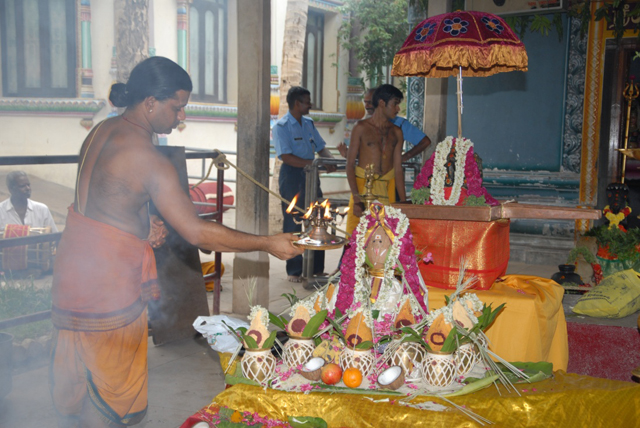 Mangala Arathi by the Temple Priest