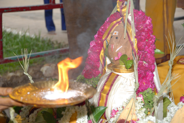 Poornahauthi by the temple priest