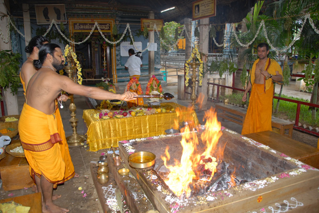 Priest offers the ghee to the fire