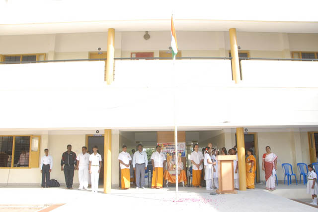 National Flag hoisted by Shri Suresh Babu, Director of Sripuram