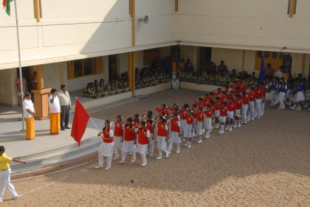 March past by the various school 'Houses'