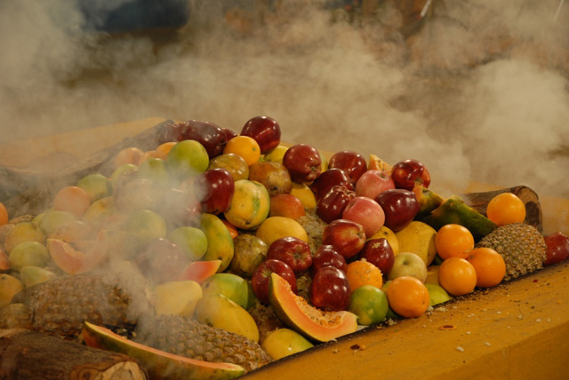 Fruits and other offerings in the fire