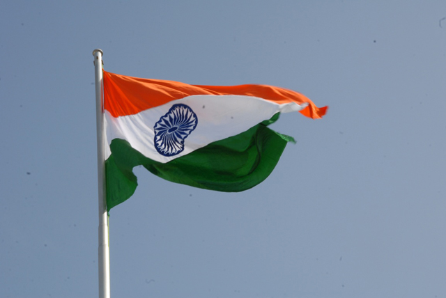 India's National Flag flutters in the wind