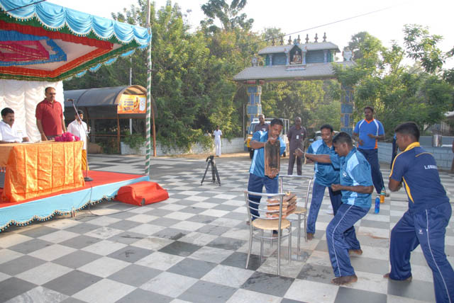 Karate exhibition by security personnel