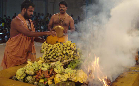 Amma adds the coconut