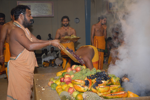 Beloved Amma adds an offering of fruits into the fire