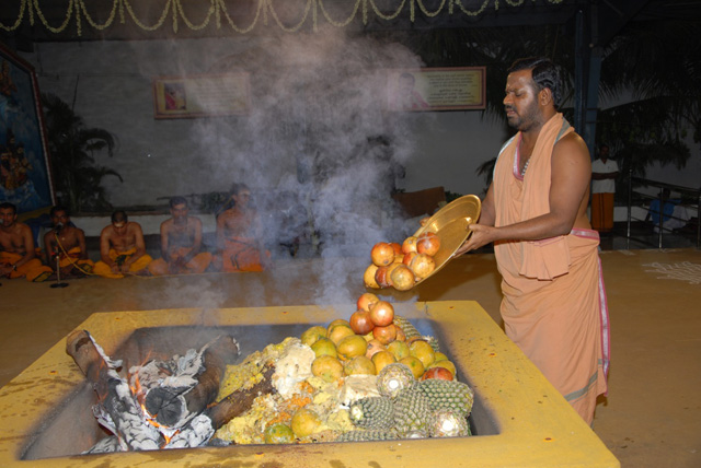Beloved Amma adds an offering of pomegranate into the fire