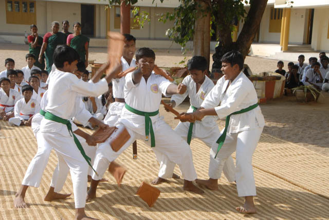 Students gave a karate performance