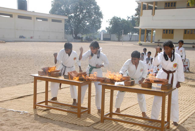 Students gave a karate performance with fire