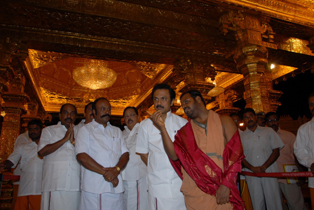 Beloved Sri Sakthi Amma gives a tour of Sripuram to the Honourable Deputy Chief Minister
