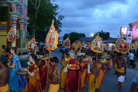 Devotees in the Full Moon Procession